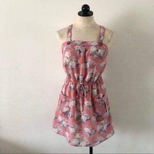American Eagle pink floral suspender strap dress